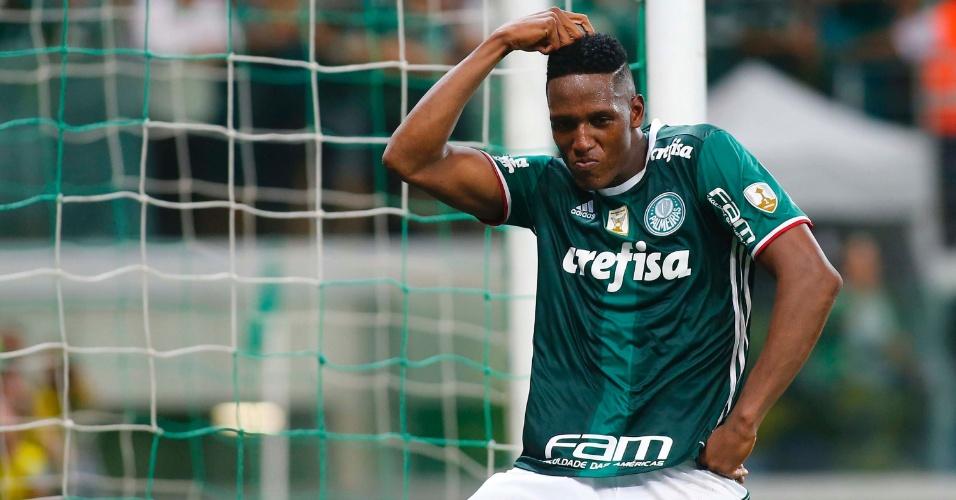 Mina comemora o gol do Palmeiras sobre o Jorge Wilstermann, no Allianz Parque