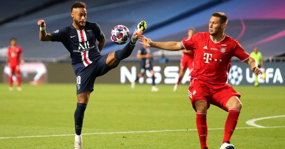 Neymar disputa a bola com Niklas Sule na final da Liga dos Campeões