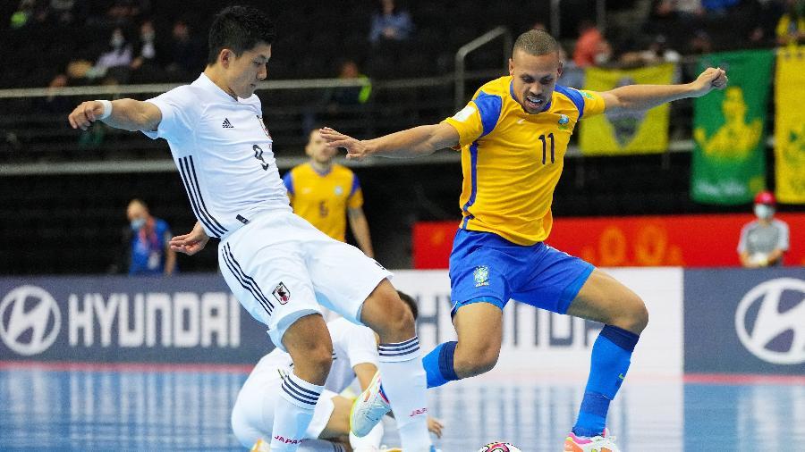 Brasil e Japão em jogo das oitavas de final da Copa do Mundo de Futsal -  Angel Martinez - FIFA / Colaborador / Getty Images