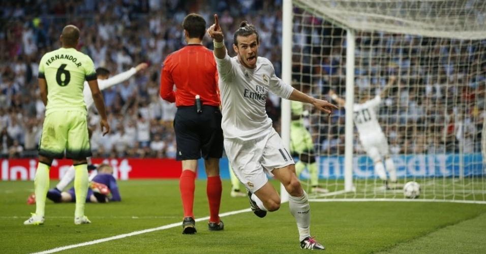 Gareth Bale comemora primeiro gol do Real Madrid contra o Manchester City