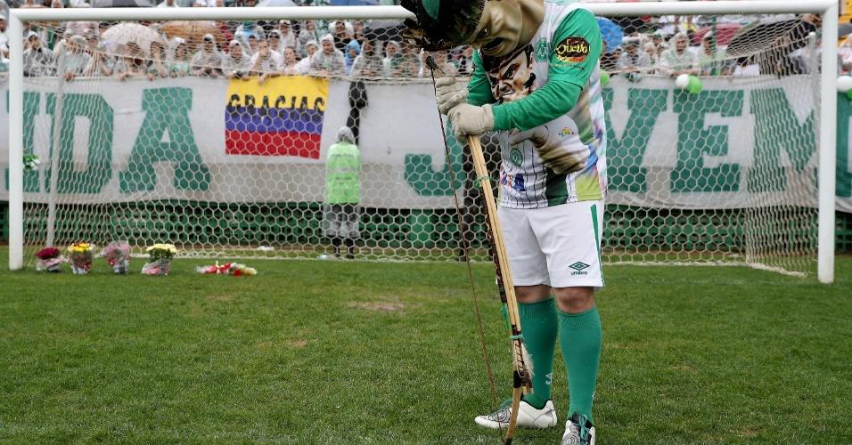 Mascote da Chapecoense presta tributo no gramado da Arena Condá