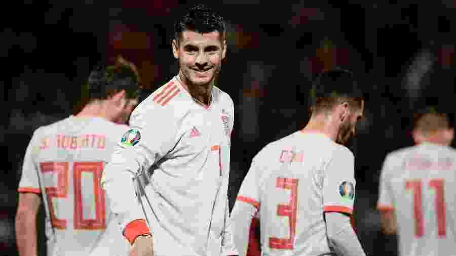 Morata comemora gol da Espanha contra Malta - Filippo MONTEFORTE / AFP
