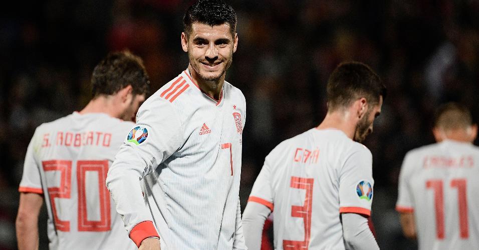 Morata comemora gol da Espanha contra Malta