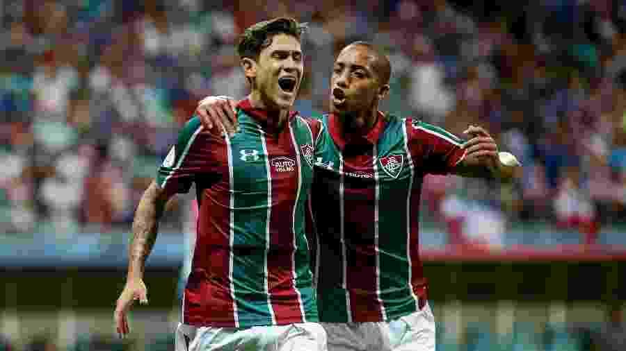 Pedro e João Pedro comemoram primeiro gol do Fluminense contra o Bahia - FOTO: LUCAS MERÇON / FLUMINENSE F.C.