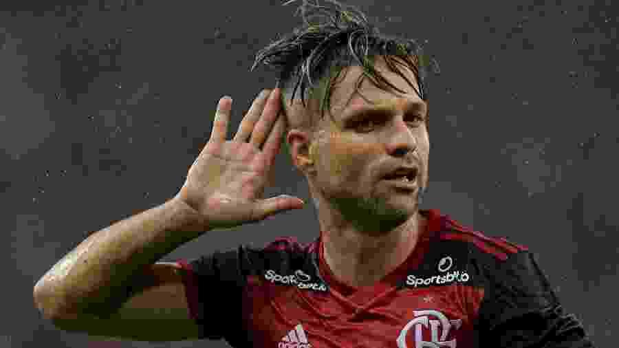 Diego comemora gol do Flamengo em cima do Boa Vista, no Maracanã - Thiago Ribeiro/AGIF