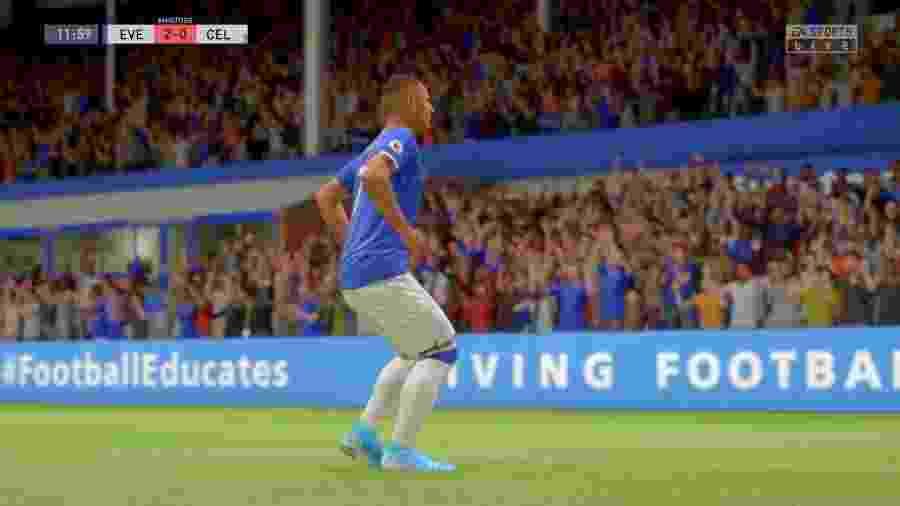 Richarlison comemora com a dança do pombo no Fifa 20 - Reprodução