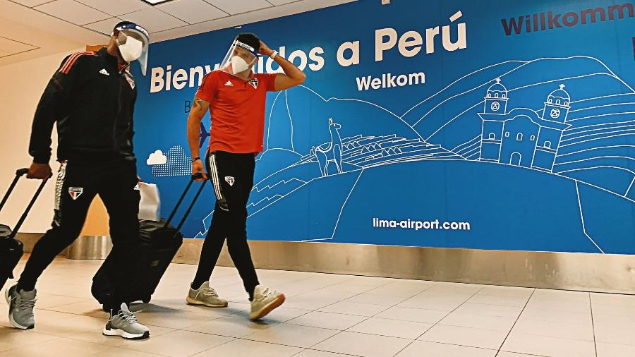 Delegação do São Paulo chegou ontem (18) ao Peru para a estreia na Libertadores - Divulgação/SPFC