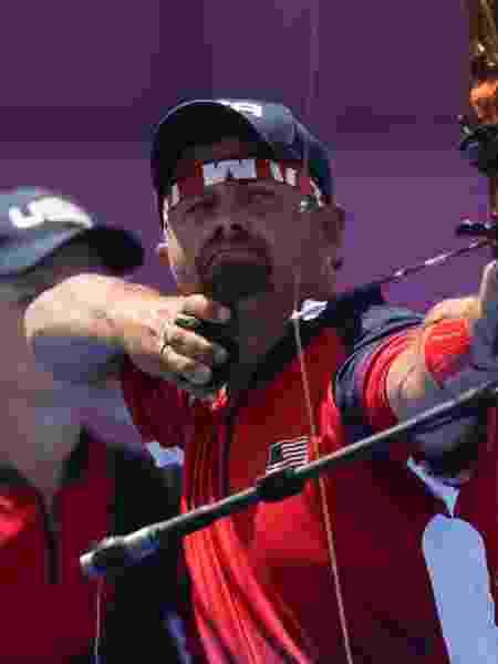 Brady Ellison, dos EUA, durante a competição de tiro com arco nas Olimpíadas de Tóquio - Justin Setterfield/Getty Images - Justin Setterfield/Getty Images