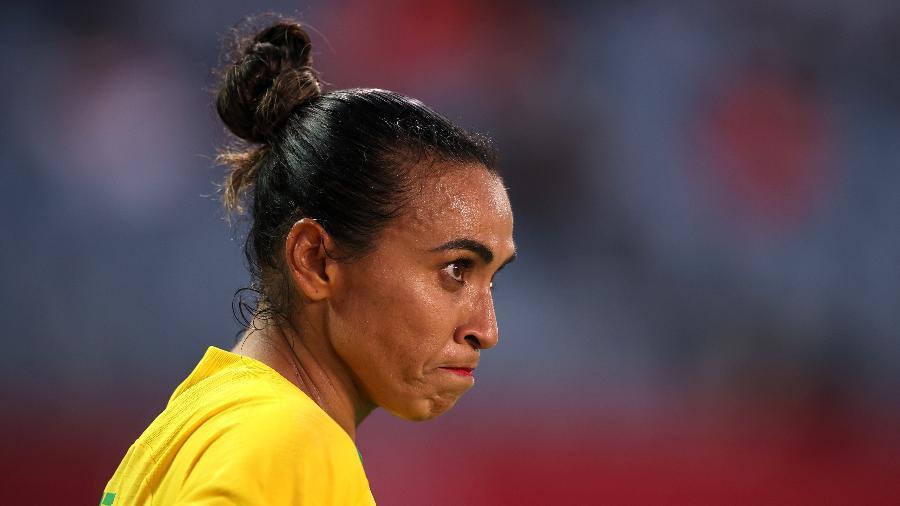 Atacante Marta, na partida entre Brasil x Canadá, pelas quartas de final das Olimpíadas de Tóquio-2020 - Koki Nagahama/Getty Images