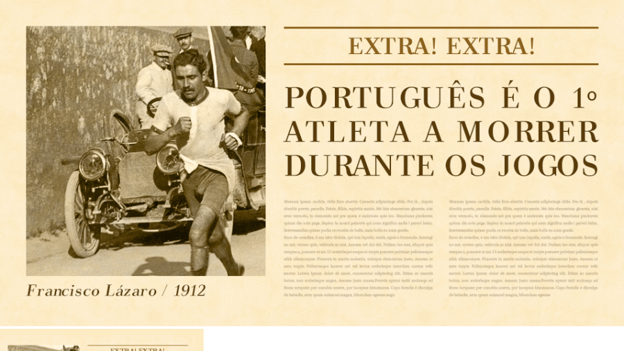 O maratonista português Francisco Lázaro protagonizou a primeira grande tragédia olímpica na era moderna. Ele morreu com desidratação extrema durante a prova em Estocolmo 1912. - Arte/UOL