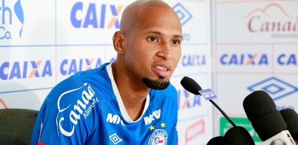 Wellington Silva, lateral do Bahia, durante entrevista coletiva