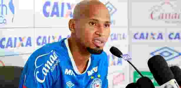 Wellington Silva, lateral do Bahia, durante entrevista coletiva - Felipe Oliveira / EC Bahia