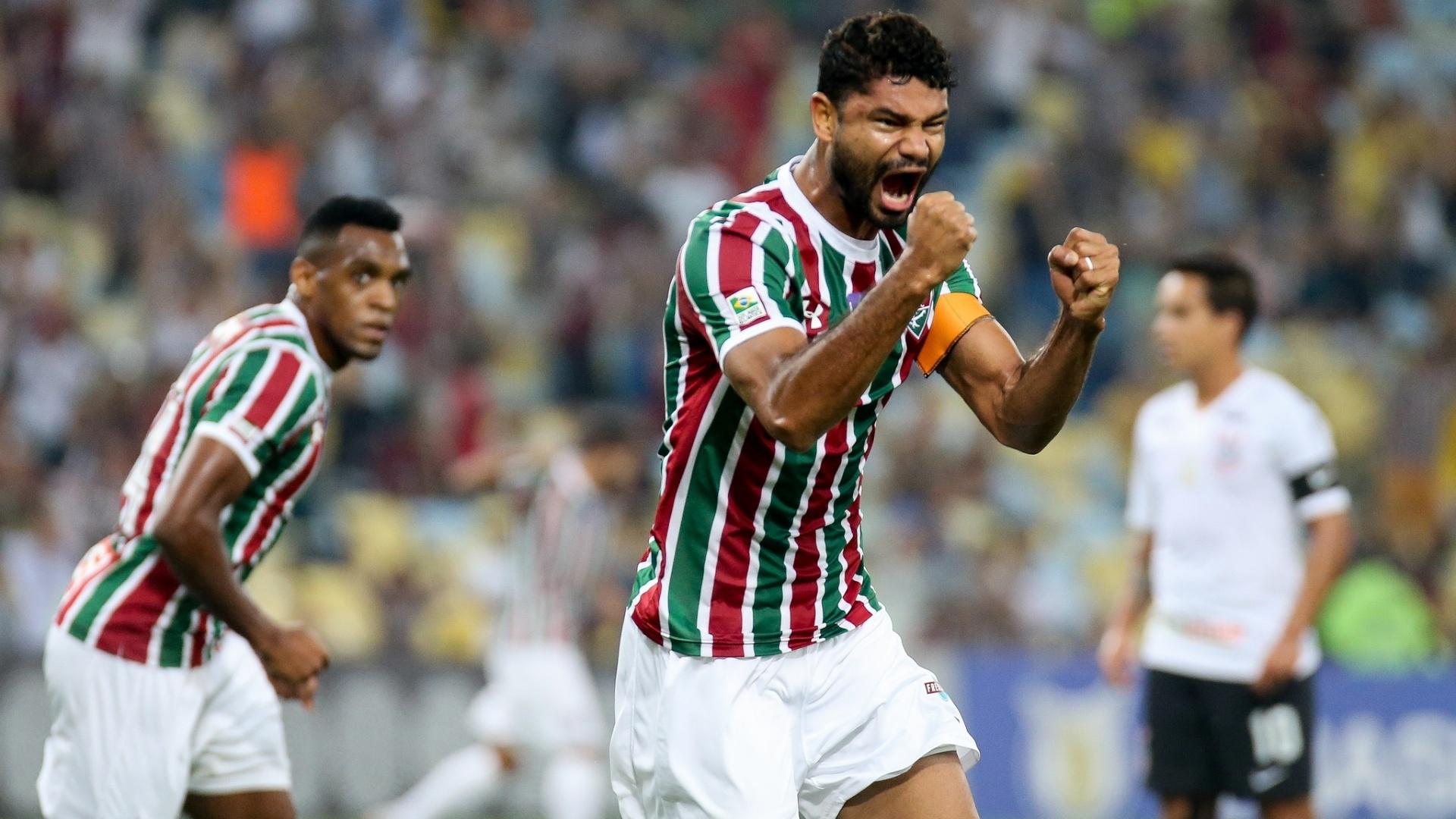 Gum comemora após marcar pelo Fluminense contra o Corinthians