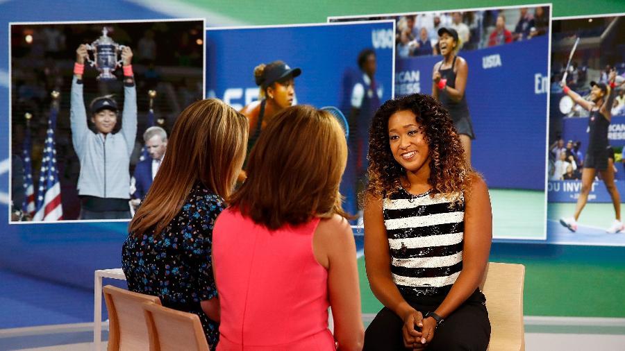 Naomi concede uma das muitas entrevistas que deu depois do título do US Open - Julian Finney/Getty Images