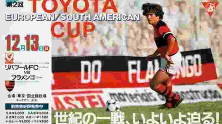 Cartaz promocional do duelo traz imagem de Zico, sem menção a nenhum jogador do Liverpool - Reprodução