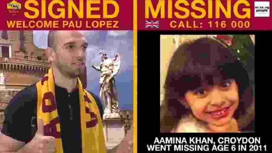Campanha da Roma por crianças desaparecidas - Reprodução/Twitter