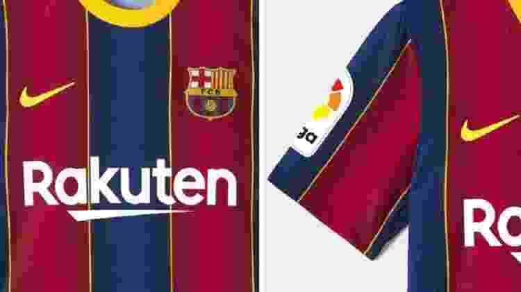 Detalhes da camiseta Match da temporada 2020-21 do Barcelona - Reprodução/Site/Barcelona Store - Reprodução/Site/Barcelona Store