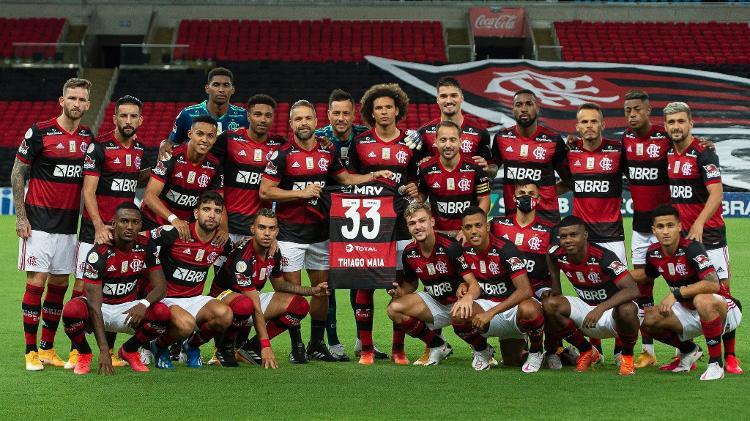 Jogadores do Flamengo homenagearam Thiago Maia antes do apito inicial - Alexandre Vidal / Flamengo - Alexandre Vidal / Flamengo