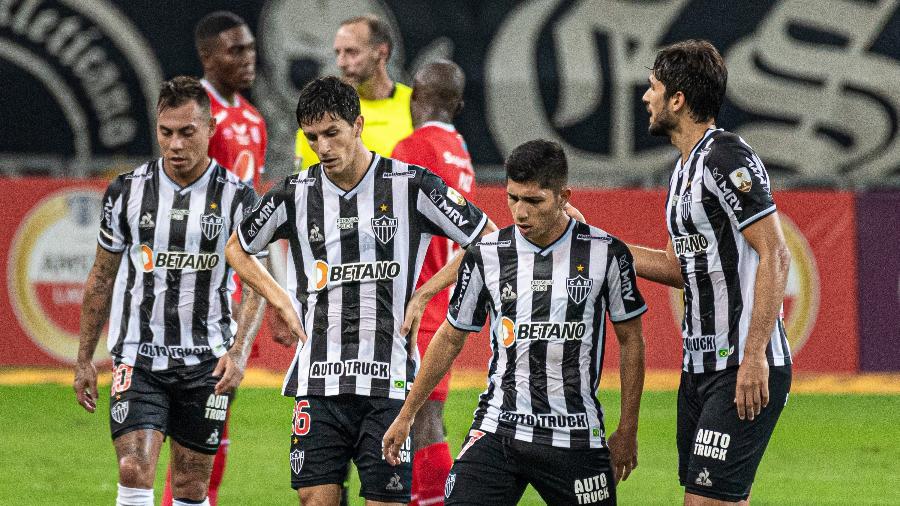 Jogadores do Atlético-MG durante a partida contra o América de Cali, pela Libertadores 2021 - ESTADÃO CONTEÚDO