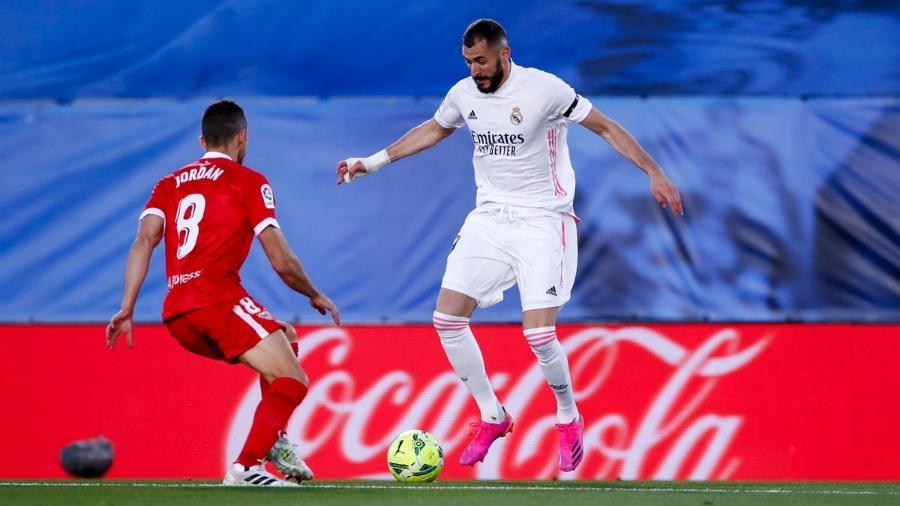 Benzema em Real Madrid x Sevilla, pelo Campeonato Espanhol - Reprodução/Twitter