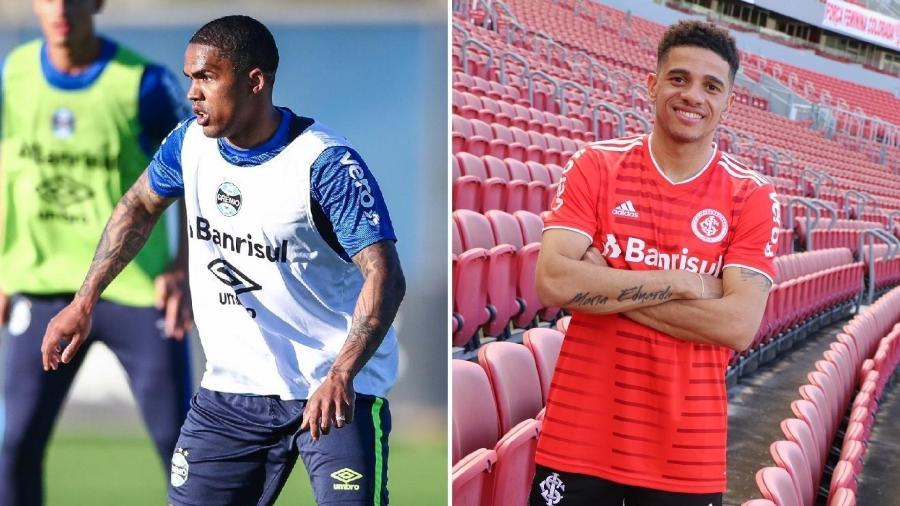 Douglas Costa e Taison são as novidades de Grêmio e Inter, respectivamente, para o Brasileirão - Lucas Uebel/Grêmio FBPA e Internacional/Divulgação