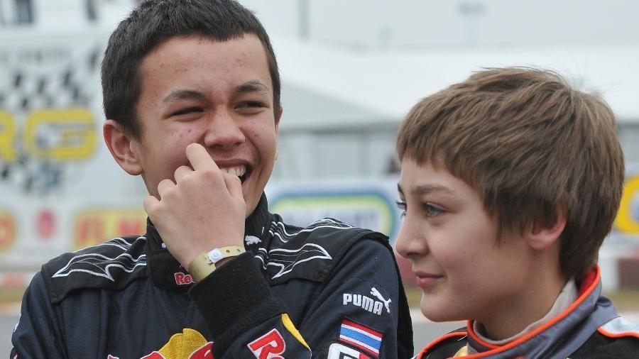 Alex Albon, da Williams, e George Russell, agora piloto da Mercedes, nos tempos de kart - Fórmula 1