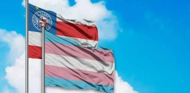 Bandeira do Bahia junto com a bandeira do orgulho trans - Divulgação