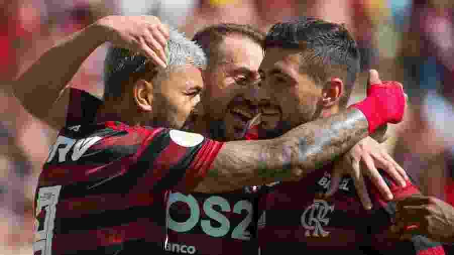Jogadores do Flamengo comemoram em goleada contra o Goiás - Reprodução Twitter
