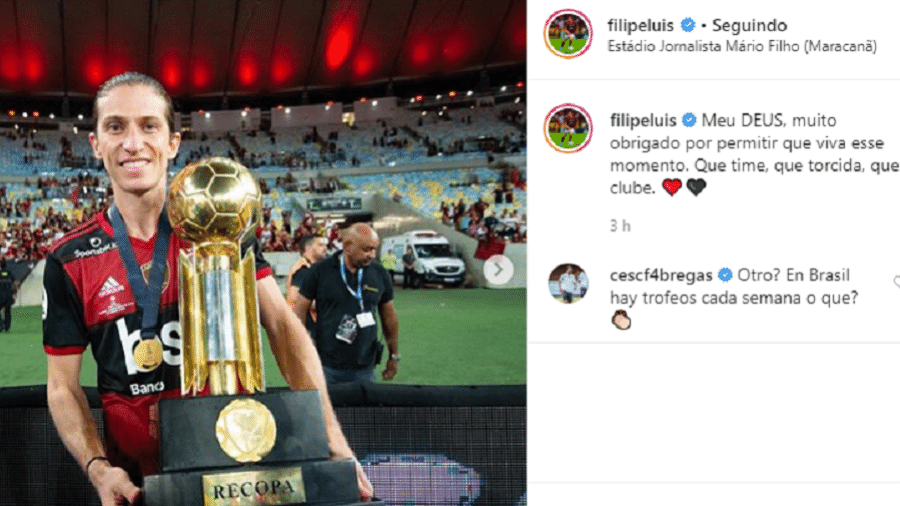 """Fàbregas comenta em postagem comemorativa de Filipe Luís após conquista da Recopa: """"Outro (troféu)?"""" - Reprodução/Instagram"""