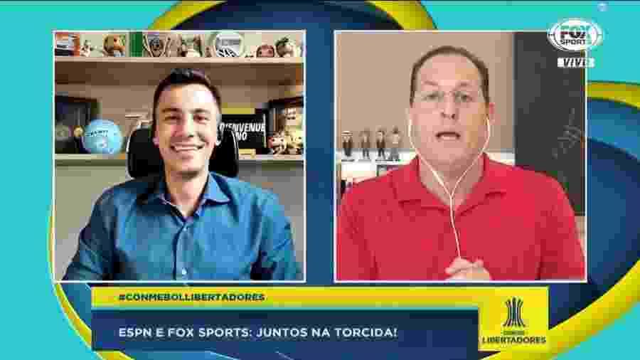Bruno Vicari, da ESPN Brasil, e Benjamin Back, do Fox Sports, brincaram com a união de seus programas - Reprodução