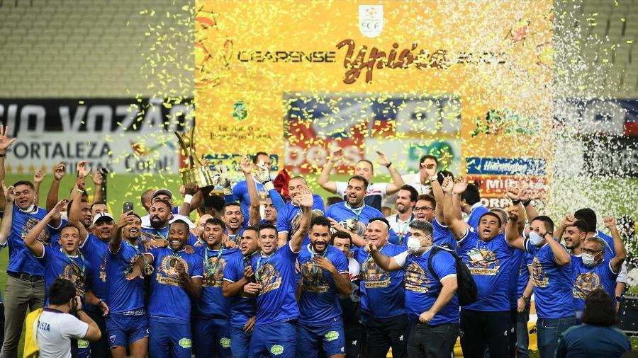 Tinga fez o gol da vitória que garantiu o bicampeonato estadual ao Fortaleza - Kely Pereira/AGIF