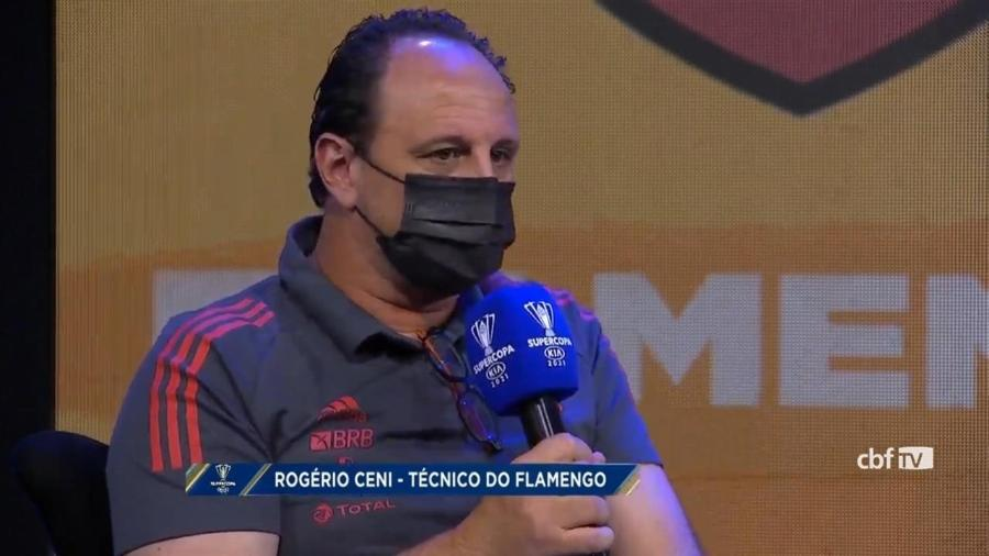 Técnico do Flamengo, Rogério Ceni participa de coletiva antes da final da Supercopa do Brasil - Reprodução / CBF TV