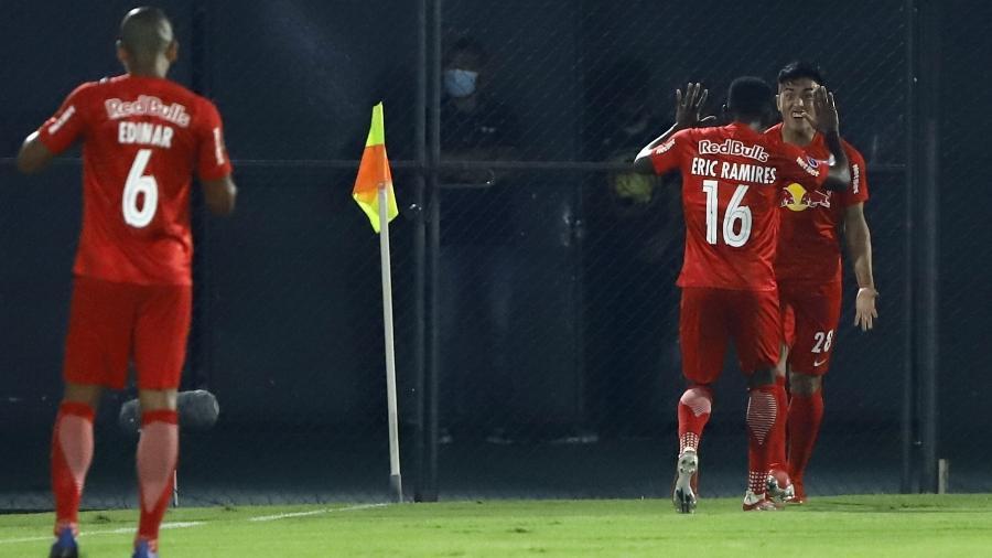 Tomás Cuello comemora gol do Red Bull Bragantino contra o Libertad, pela Sul-Americana - Pool via REUTERS