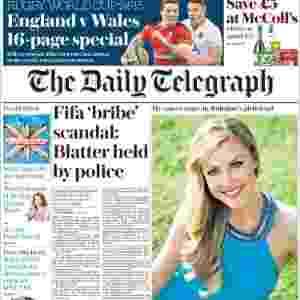 """Daily Telegraph (Inglaterra): """"Escândalo de propina na Fifa: Blatter é detido pela polícia"""" - Reprodução"""