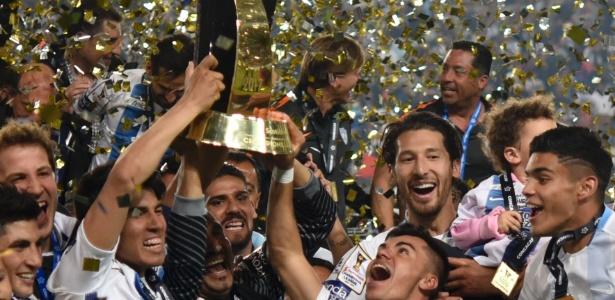 Jogadores do Pachuca comemoram título da Liga dos Campeões da Concacaf