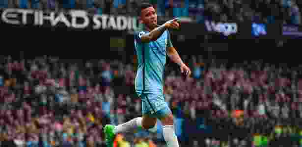 Gabriel Jesus comemora gol do Manchester City contra o West Brom - Paul Ellis/AFP