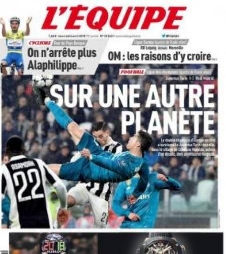 Francês L'Equipe ironiza dizendo que Ronaldo veio de 'outro mundo'