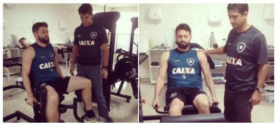 João Paulo, meia do Botafogo, na fisioterapia