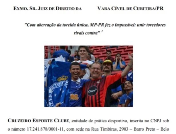 """Abertura do processo do Cruzeiro: clube mineiro questiona """"medida arbitrária"""" do MP-PR"""
