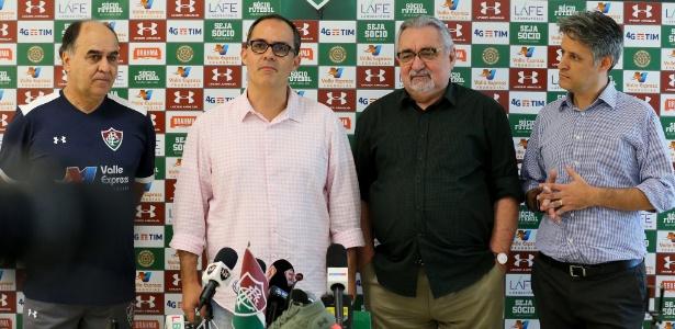 Marcelo, Abad, Angioni e o vice Fabiano Camargo: a diretoria do futebol do Flu  - Lucas Merçon/Fluminense
