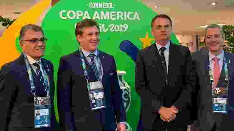 Fernando Sarney (primeiro, da esq. para dir.), Alejandro Domínguez, Jair Bolsonaro e Rogério Caboclo - Reprodução/Twitter