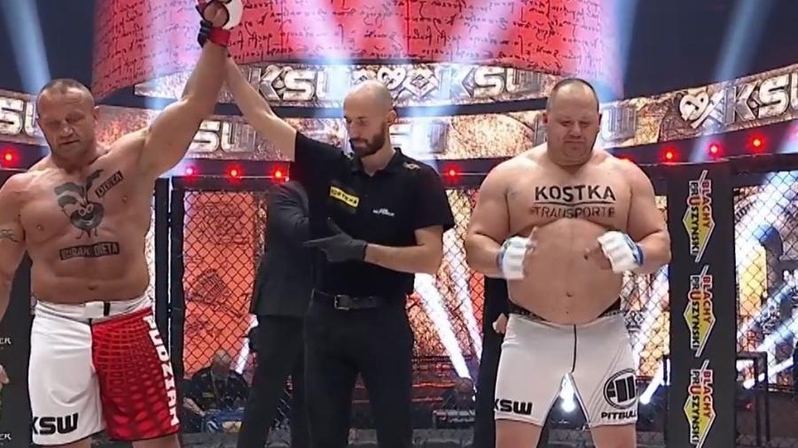 Mariusz Pudzianowski precisou de menos de um minuto para vencer sua luta no KSW 59, o MMA polonês, contra Nicolau Melanopes - Instagram/Reprodução