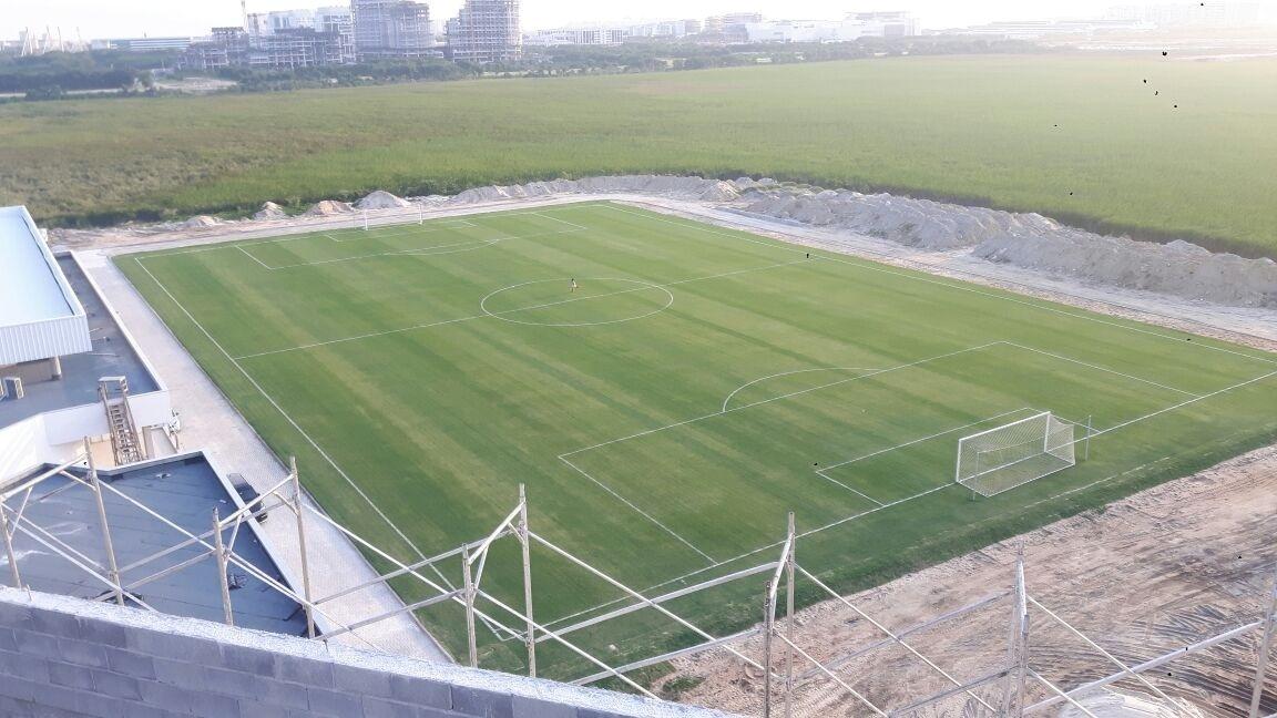 Detalhe de um dos campos no novo CT do Fluminense