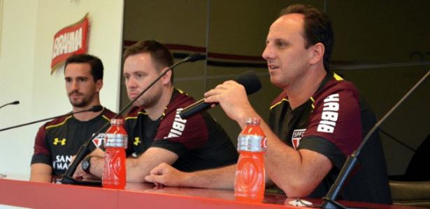 Charles Hembert, Michael Beale e Rogério Ceni na chegada ao São Paulo