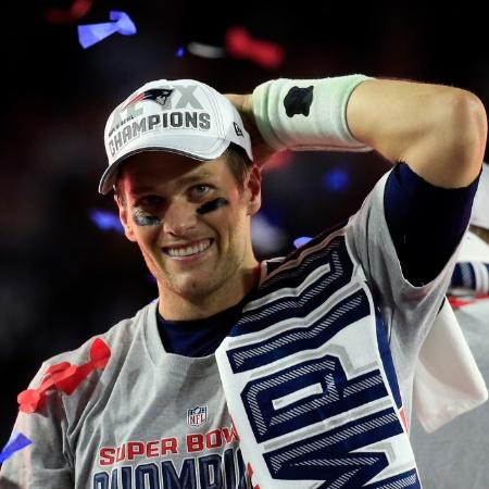 Tom Brady comemora a conquista do Super Bowl XLIX - Rob Carr/Getty Images