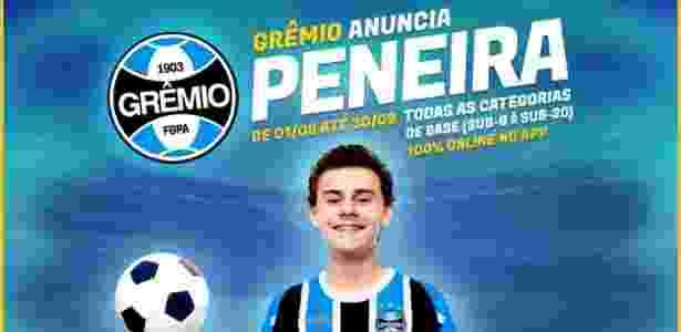 Anúncio de peneira do Grêmio em aplicativo criado pelo ex-goleiro Doni - Reprodução - Reprodução