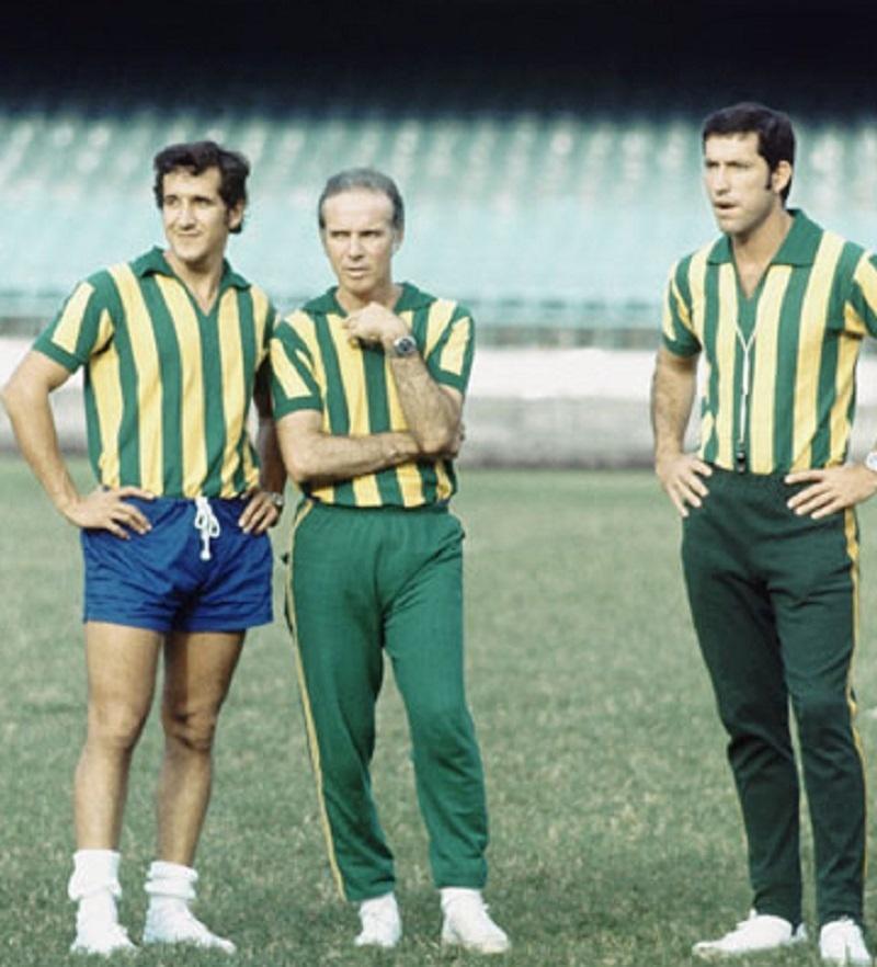 Parreira, Zagallo e Coutinho, da comissão técnica do Brasil na Copa de 1970
