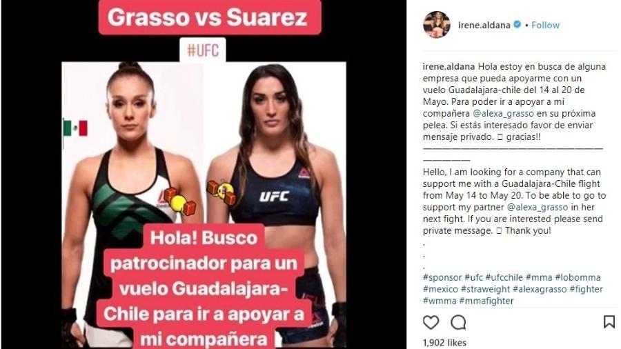 Lutadora Irene Aldana pede patrocínio no Instagram - Reprodução/Instagram