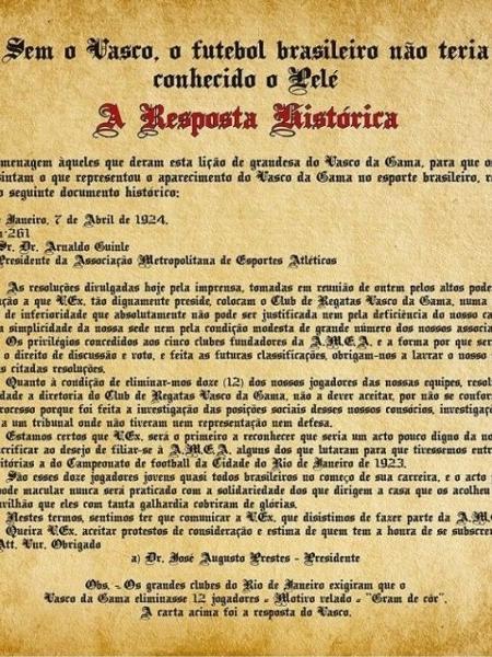 """""""Resposta Histórica"""" do Vasco, em 1924, foi um marco contra a discriminação racial e social no Brasil - Site oficial do Vasco"""