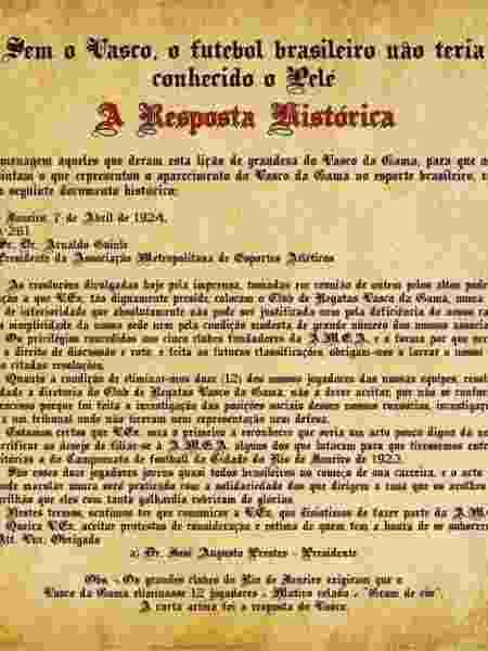 """""""Resposta Histórica"""" do Vasco, em 1924, foi um marco contra a discriminação racial e social no Brasil - Site oficial do Vasco - Site oficial do Vasco"""